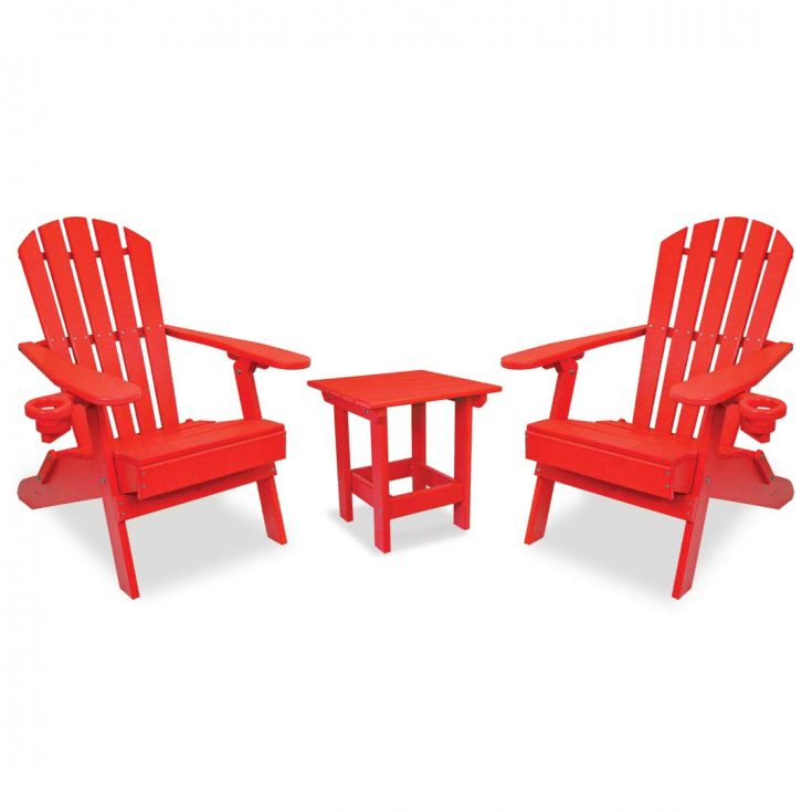Value Line Adirondack Chairs with Value Line Side Table in Bright Red