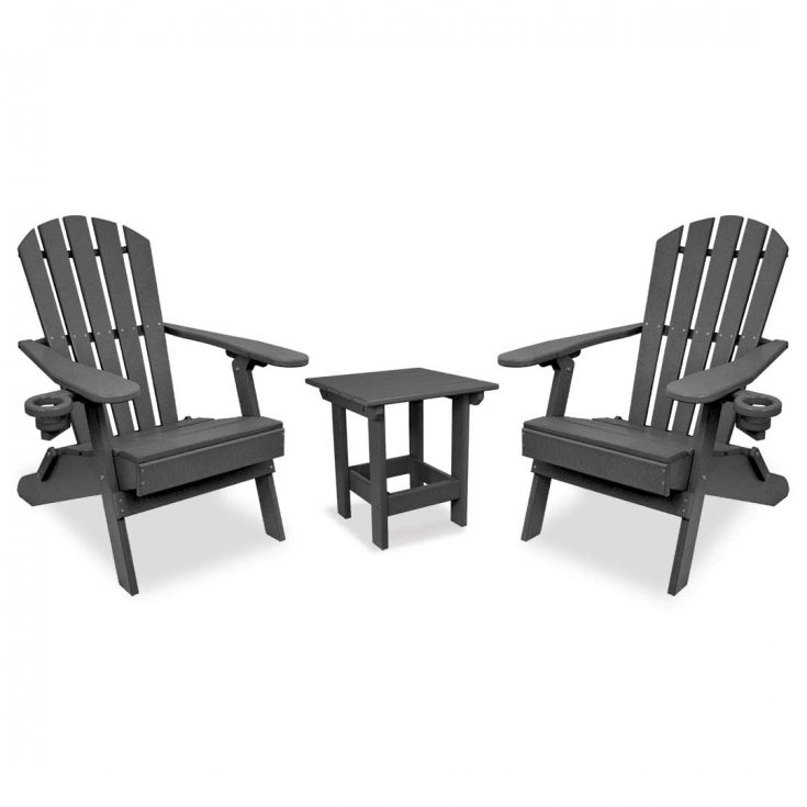 Value Line Adirondack Chairs with Value Line Side Table in Dark Gray