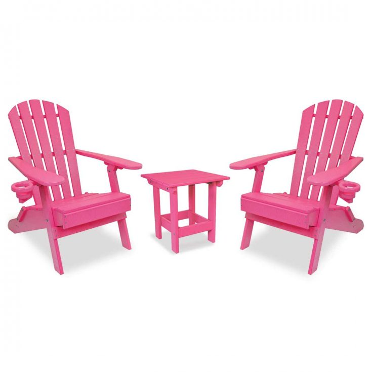 Value Line Adirondack Chairs with Value Line Side Table in Pink