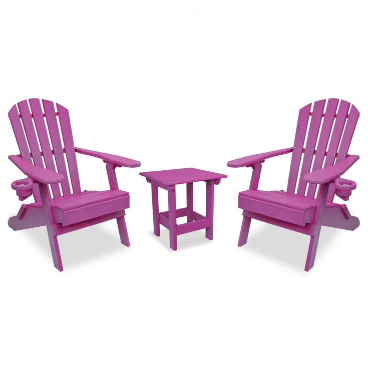 Value Line Adirondack Chairs with Value Line Side Table in Purple