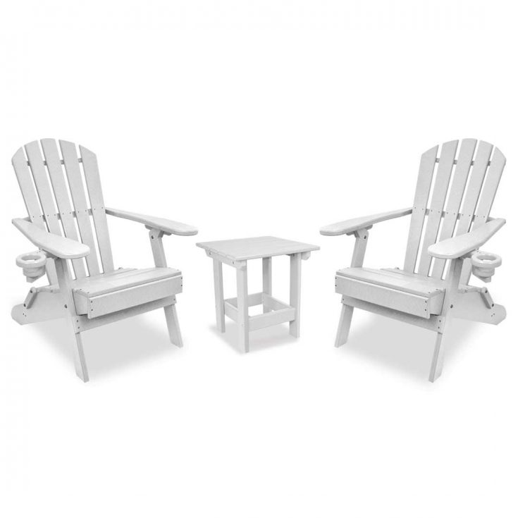 Value Line Adirondack Chairs with Value Line Side Table in White